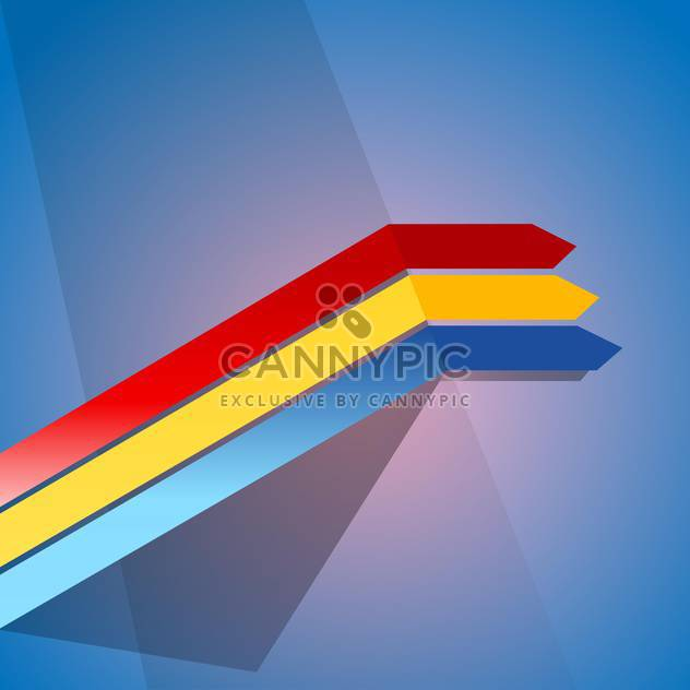 Vector illustration of three colorful ribbons on blue background - Free vector #125776