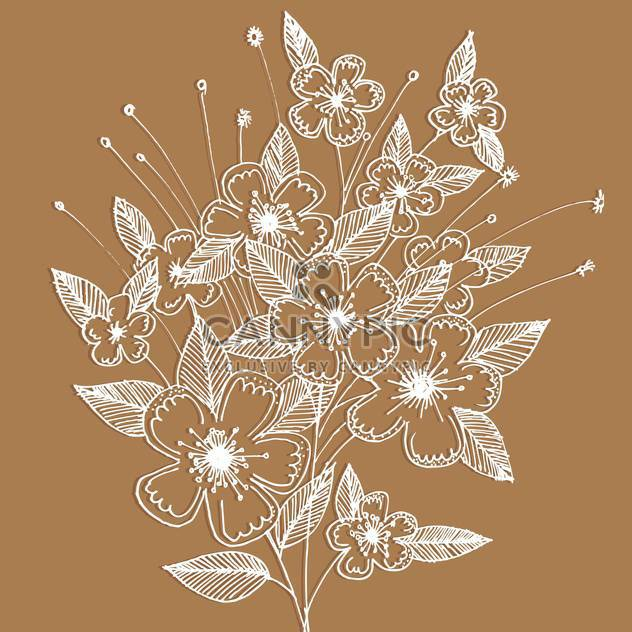 Vector floral background with decoration white flowers on brown background - Free vector #125786