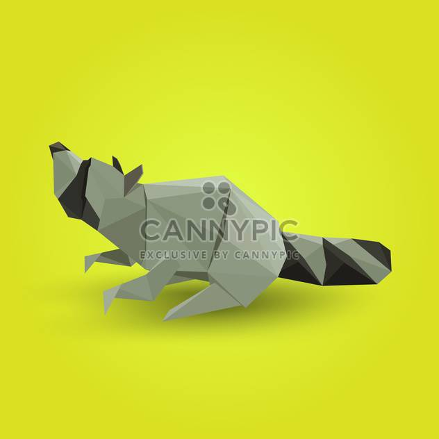 Vector illustration of paper origami raccoon on yellow background - Free vector #125836