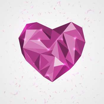 Vector illustration of purple geometry heart on white background - Free vector #125876
