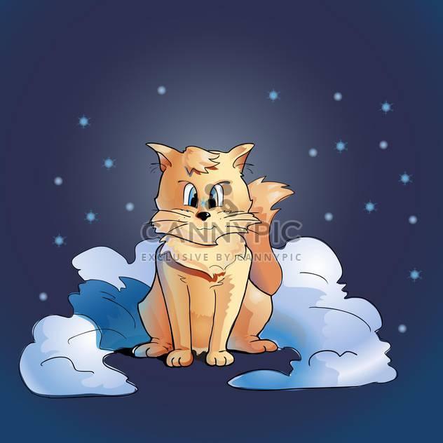 bunte Illustration der flauschige Katze sitzt im Schnee auf blauem Hintergrund mit Sternen - Free vector #125896