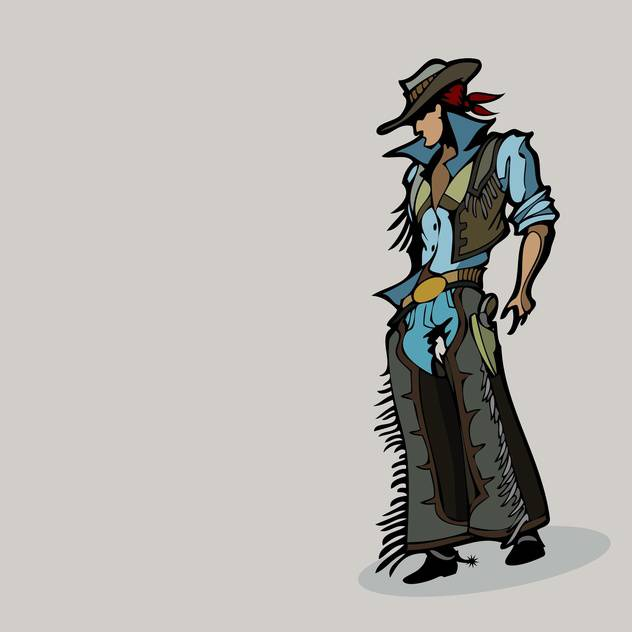 Vector illustration of cartoon western cowboy in hat on grey background - бесплатный vector #125906