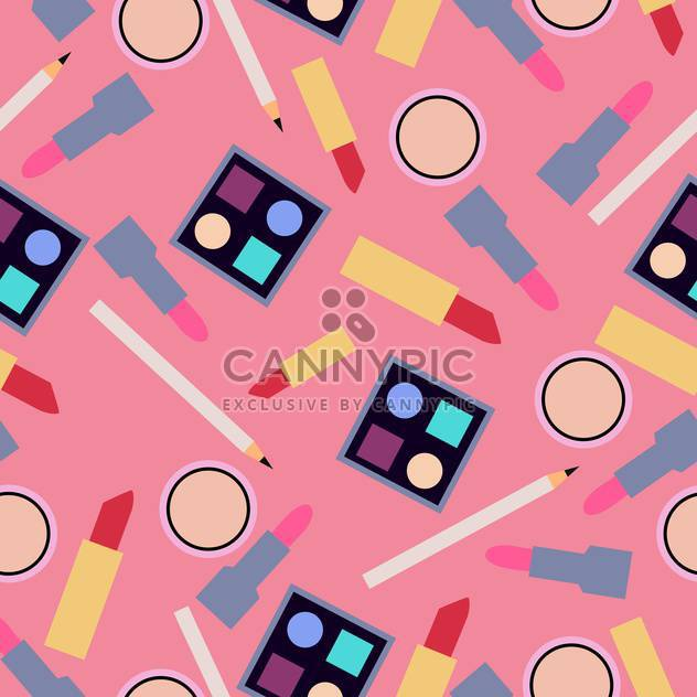 Vector background with female cosmetics elements on pink background - Free vector #125926