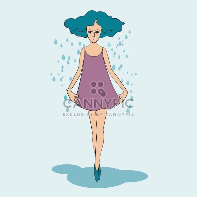 bunte Illustration des Mädchens im Herbst Zeit auf blauem Hintergrund - Free vector #125946