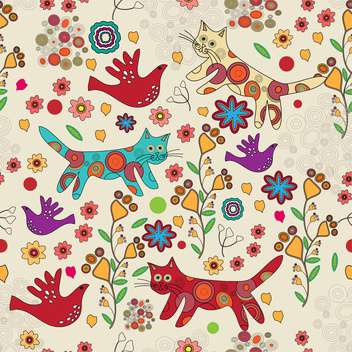 Vector folk background with colorful cats and birds on floral background - бесплатный vector #125956