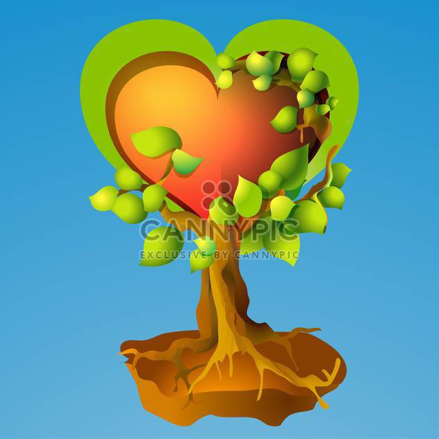 Vector illustration of heart shape tree on blue background - Free vector #126026