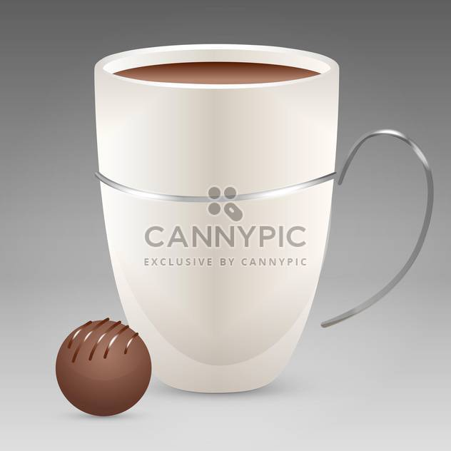 Vector illustration of white coffee cup with candy on grey background - Free vector #126056
