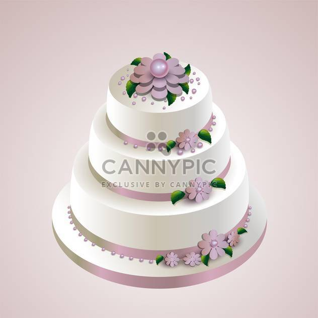 Vector illustration of wedding cake with flowers on pink background - Free vector #126086