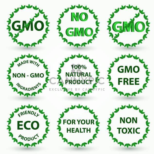Vector illustration set of green organic eco and bio labels on white background - Free vector #126126