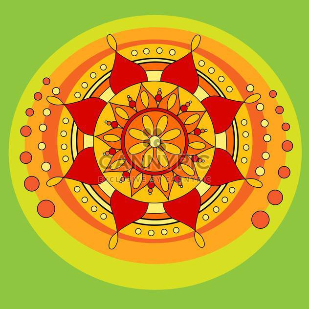 Vector folk background with floral mandala symbol on green background - Free vector #126156