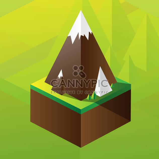 Vector illustration of square maquette of mountains on colorful background - Free vector #126186