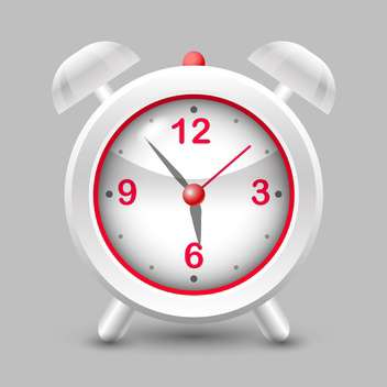 Vector illustration of grey and red alarm clock on grey background - vector gratuit #126196