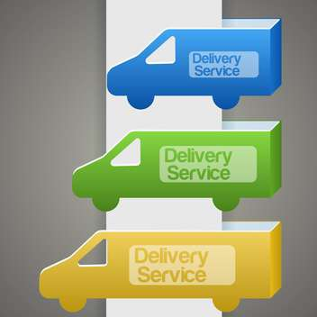 Vector illustration of colorful delivery trucks with delivery signs - Kostenloses vector #126206
