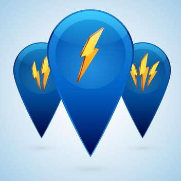 Vector illustration of blue lightning web icons on blue background - Free vector #126266