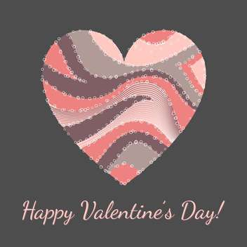 Vector illustration of greeting card for Valentine's day with colorful art heart - vector gratuit(e) #126326