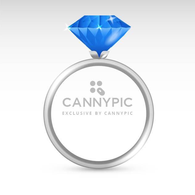 Vektor Silber Ring mit blauen Raute auf weißem Hintergrund - Kostenloses vector #126356