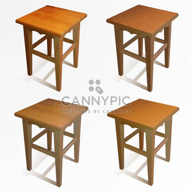 Vector set of wooden brown chairs on white background - Free vector #126366
