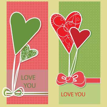 Vector greeting card with hearts and love you text - vector gratuit #126386
