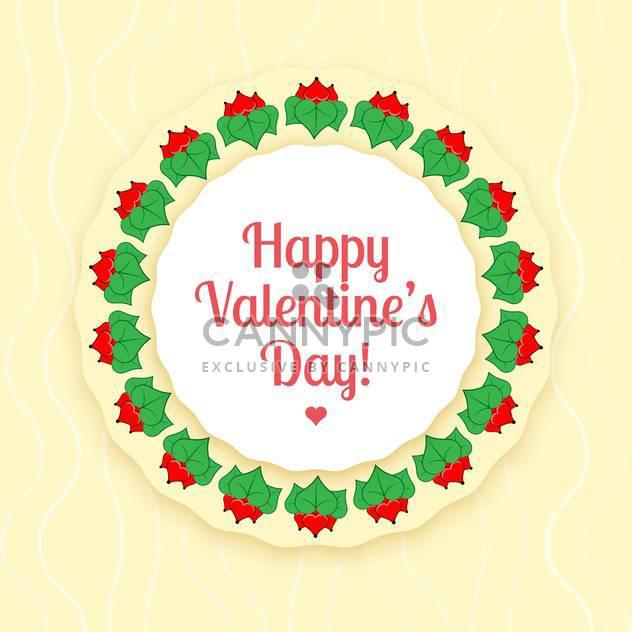 Vektor-Karte für Valentinstags-Karte der rote Blüten mit grünen Blättern - Free vector #126486