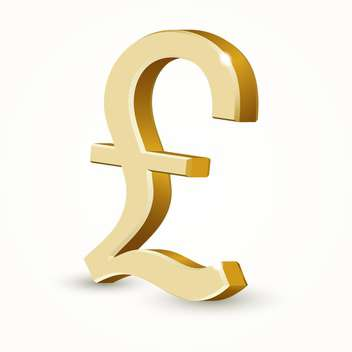 Vector illustration of golden UK pound sign on white background - бесплатный vector #126546