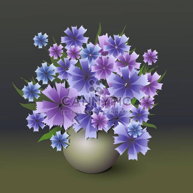 colorful illustration of blue cornflowers bouquet in vase - Free vector #126556