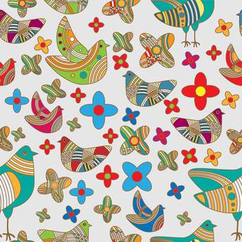 Vector colorful background with drawing birds and flowers - vector gratuit #126566