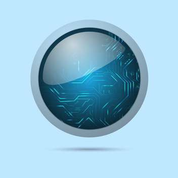 Vector illustration of modern round shiny web button on blue background - vector gratuit #126586