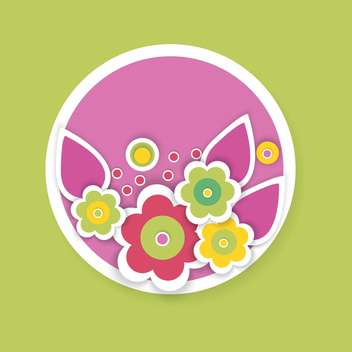 Vector illustration of floral background with beautiful colorful flowers in circle on green background - vector gratuit #126596