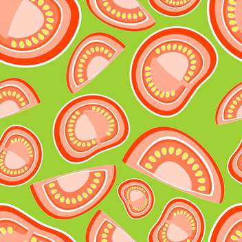 Vector illustration of green background with red tomatoes - vector gratuit #126606