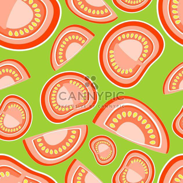 Vector illustration of green background with red tomatoes - Free vector #126606