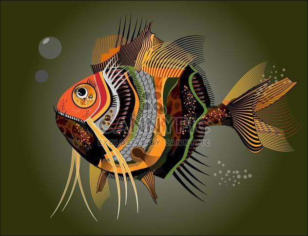 Vektor-Illustration bunte abstrakte Fische auf dunklen grün hintergrund - Kostenloses vector #126626