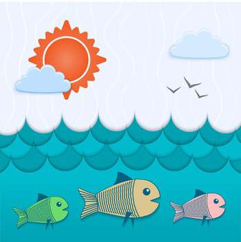 vector illustration of blue underwater background with fish - Free vector #126686