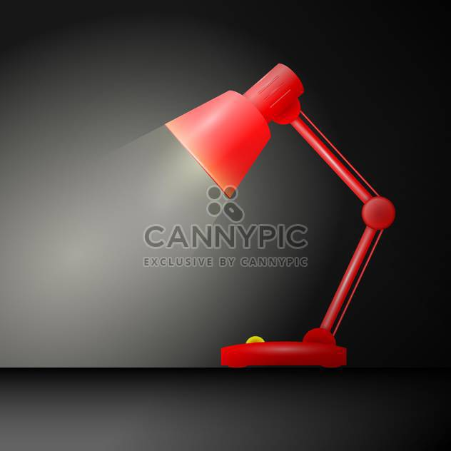 vector illustration of red table lamp on dark background - Free vector #126696