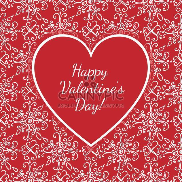 Vector card with congratulations for Valentine's day with floral pattern - Free vector #126706