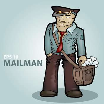 Vector illustration of cartoon mailman on blue background - бесплатный vector #126716