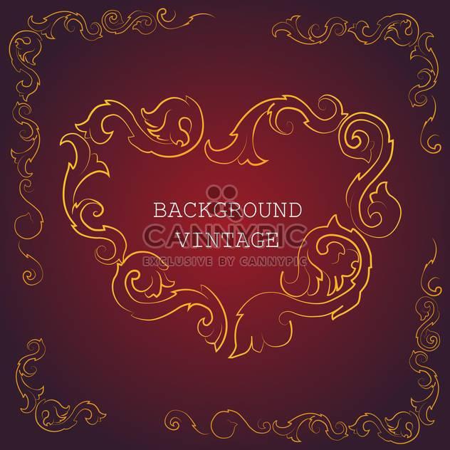 Vector vintage background wit golden floral pattern on red background - Free vector #126756