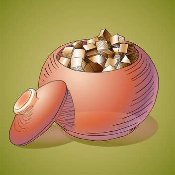 Vector illustration of sugar bowl on green background - vector #126796 gratis