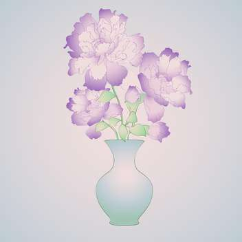 beautiful purple flowers in vase on blue background - vector gratuit(e) #126806