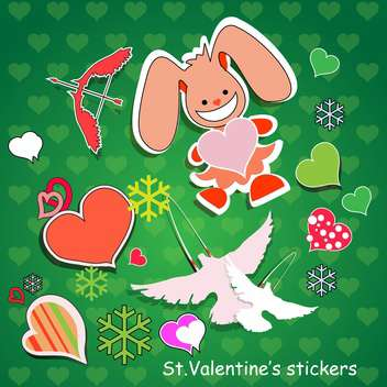 Vector background for Valentine's day with rabbit and hearts - vector #126906 gratis