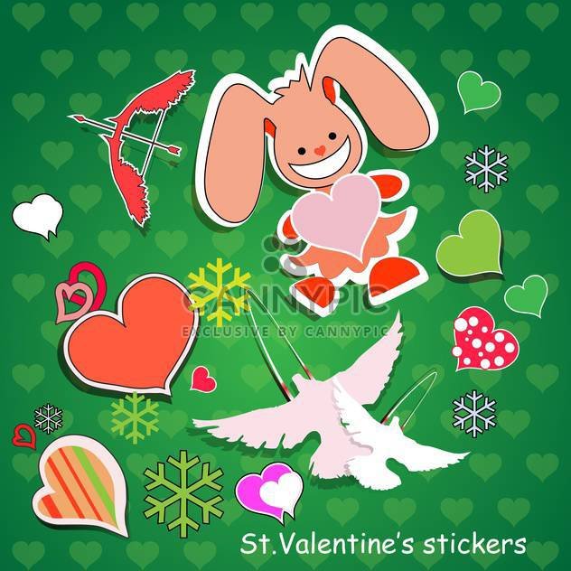 Vector background for Valentine's day with rabbit and hearts - Free vector #126906