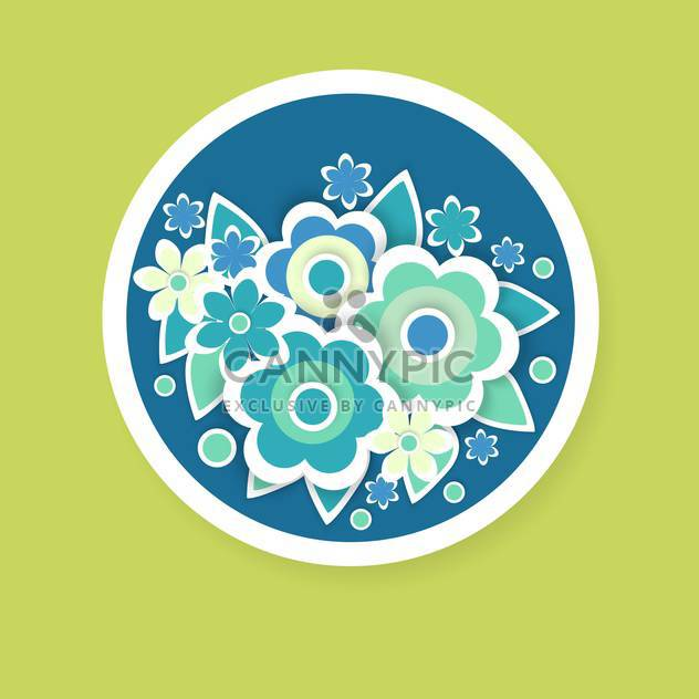 Vector floral background with beautiful flowers in blue circle - Free vector #126946