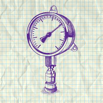 Sketch illustration of drawing manometer on notebook paper - Free vector #126996