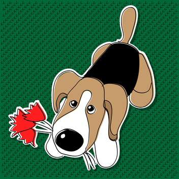 Cute dog with flowers on green background - Free vector #127006