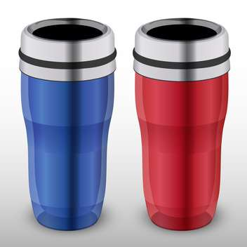 Vector illustration of two colorful thermo-cups on white background - vector gratuit(e) #127096