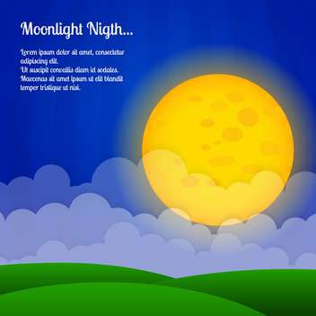 Vector background with clouds and big moon in sky - vector gratuit #127106