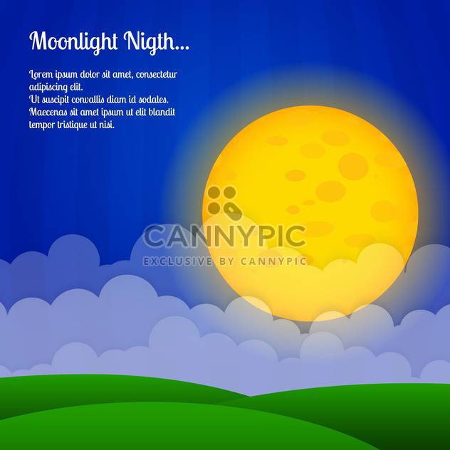Vector background with clouds and big moon in sky - Free vector #127106