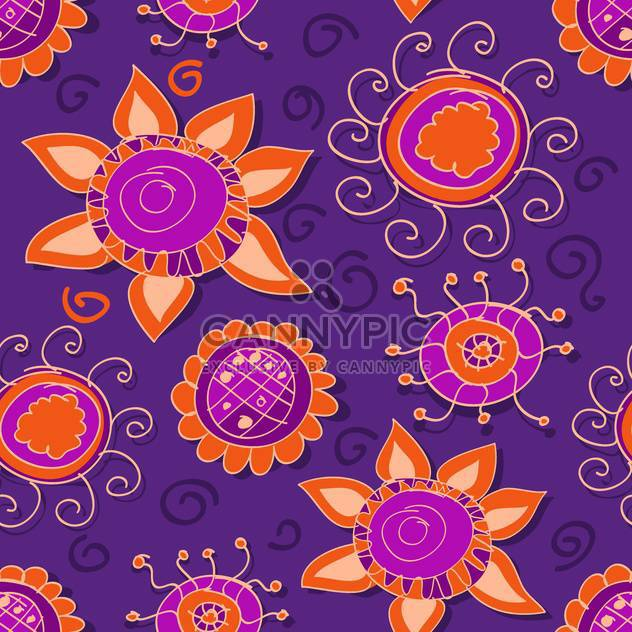 Vector floral purple background with curve flowers - Free vector #127116