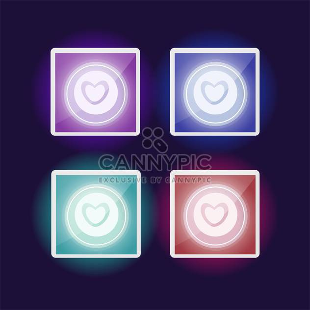 Vector set of colorful buttons with heart - Free vector #127166