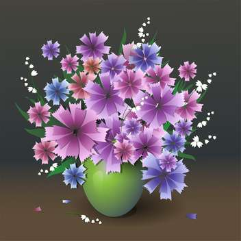 Vector illustration of purple flowers bouquet in vase - Free vector #127206
