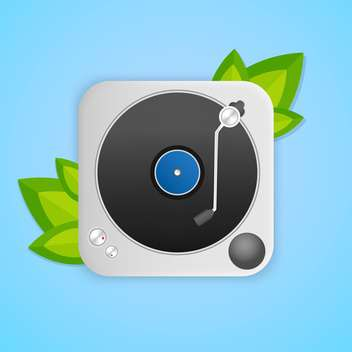Turntable with green leaves on blue background - vector gratuit #127236